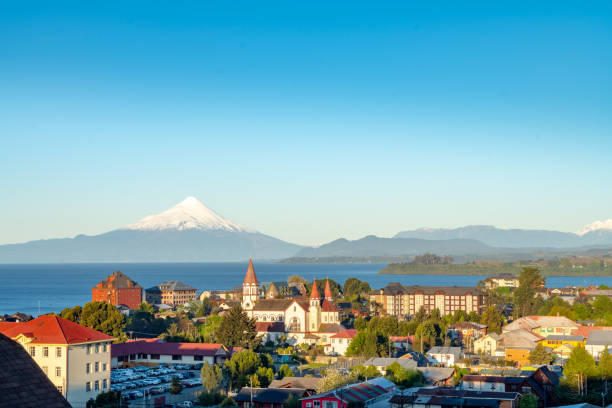 Sunset on Puerto Varas, Chile stock photo