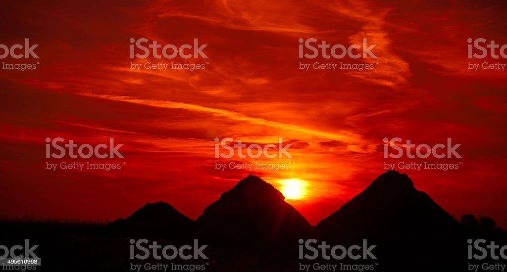 Sunset on pyramids stock photo