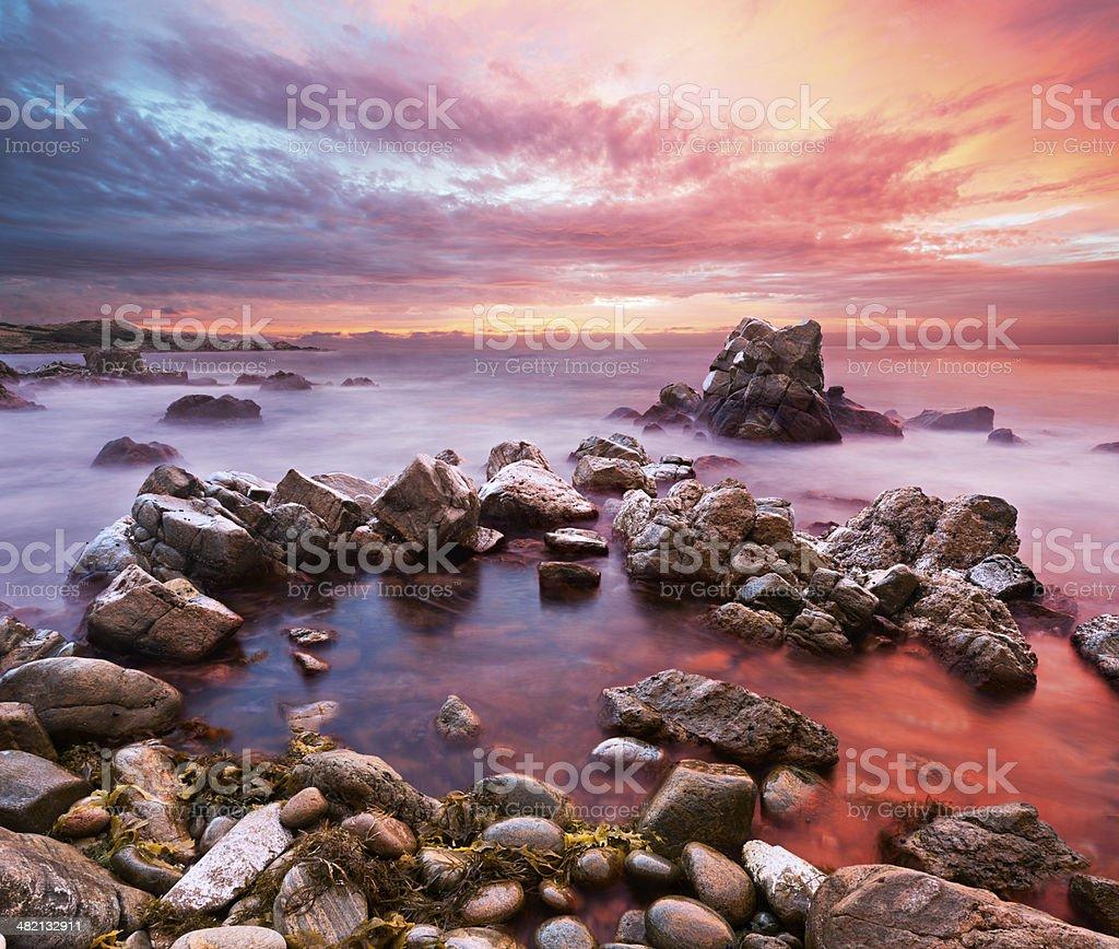 Sunset on Rocky Western Australian Coastline stock photo