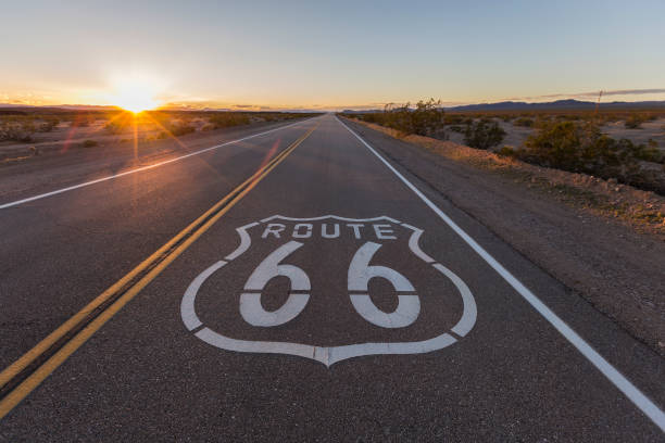 Sunset on Route 66 Sunset on Route 66 in the California Mojave Desert. san bernardino california stock pictures, royalty-free photos & images