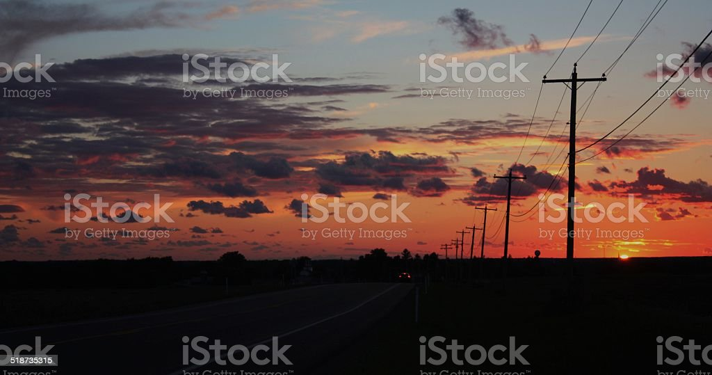 Sunset on rural highway 177 in Upstate New York stock photo