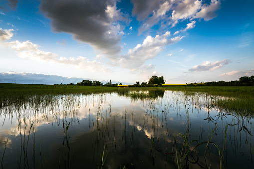 Sunset on rural scene with reflections