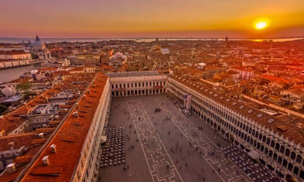Sunset on Saint Mark's Square in Venice in Italy – zdjęcie