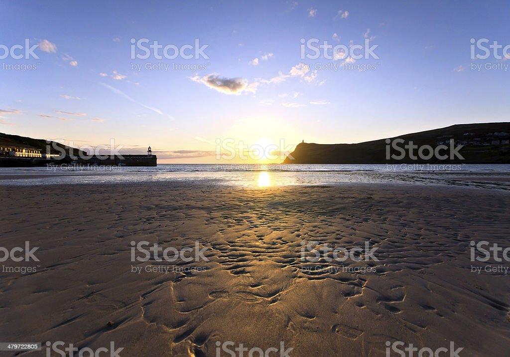 1e5212a6b2 Sunset on Sandy Beach at Port Erin Isle of Man royalty-free stock photo