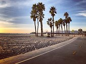 Sunset on Santa Monica beach, California, USA