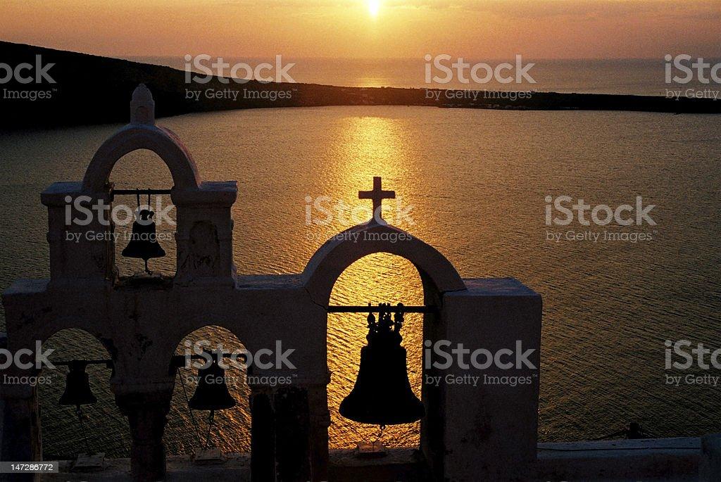 Sunset on Santorini, Greece stock photo
