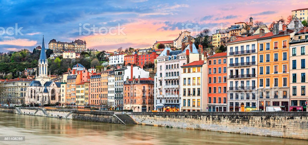 sunset on Saone river sunset on Saone river at Lyon, France Auvergne-Rhône-Alpes Stock Photo