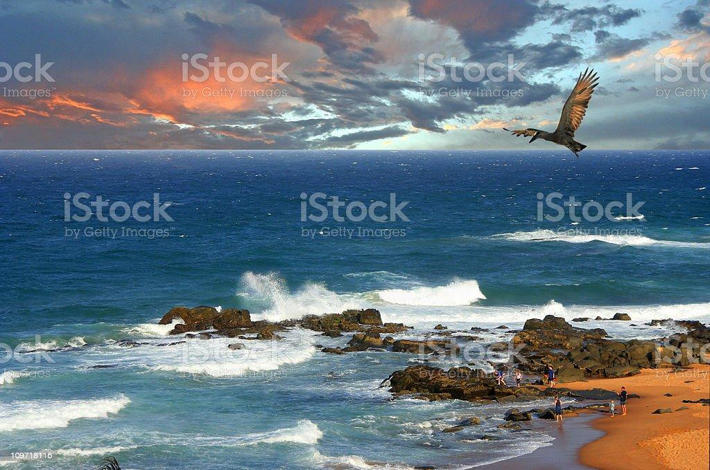 Sunset on Seascape royalty-free stock photo