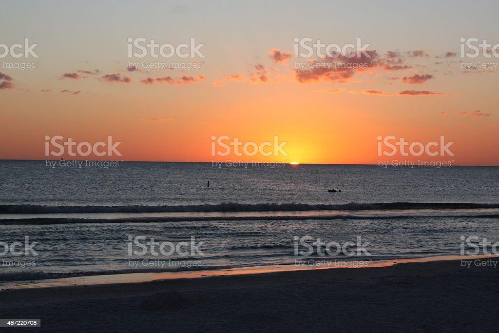 Pôr-do-sol em Siesta Beach-Flórida - foto de acervo
