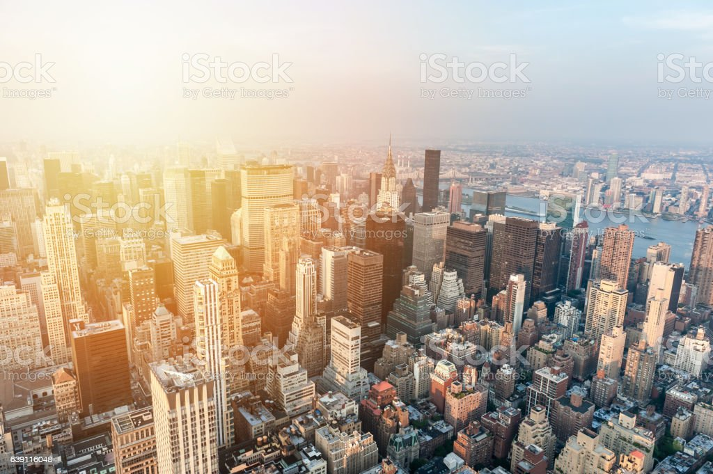 Sunset on skyscrapers of Manhattan – Foto