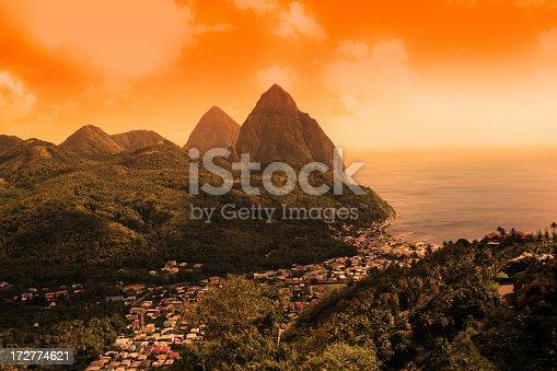 istock Sunset on St Lucia Pitons 172774621