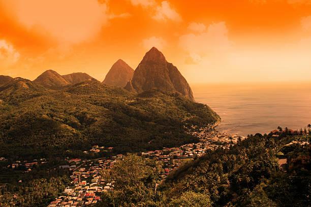 Sunset on St Lucia Pitons stock photo