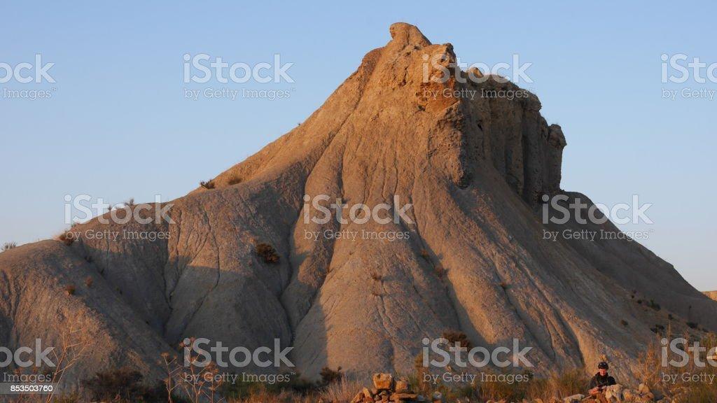 sunset on tabernas desert stock photo