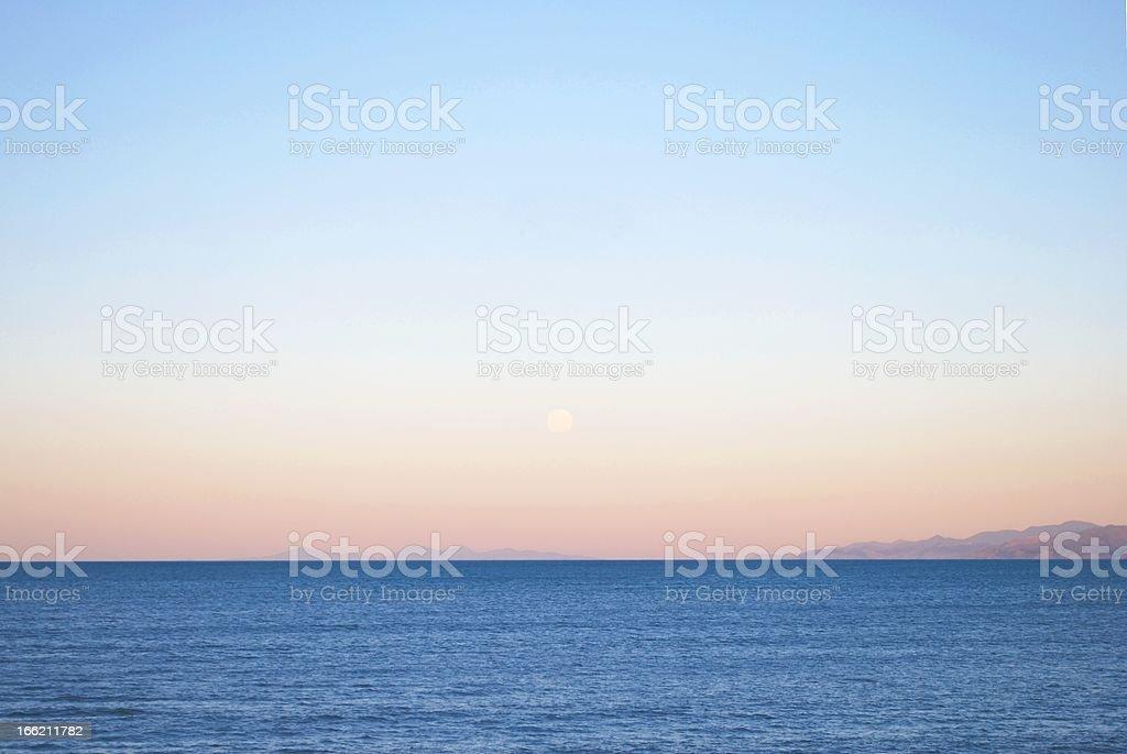 Sunset on Tasman Bay, Nelson Region, NZ royalty-free stock photo