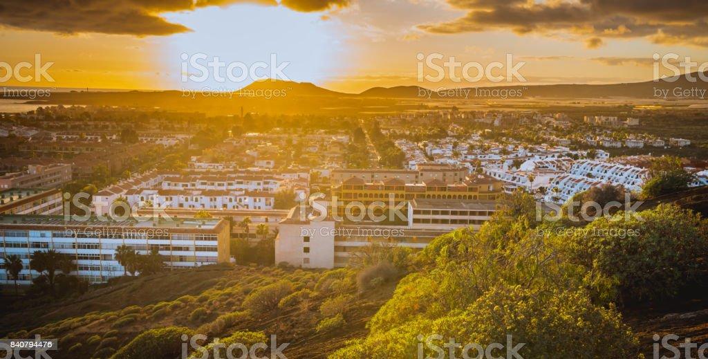 Sunset on Tenerife resort Costa Silencio stock photo
