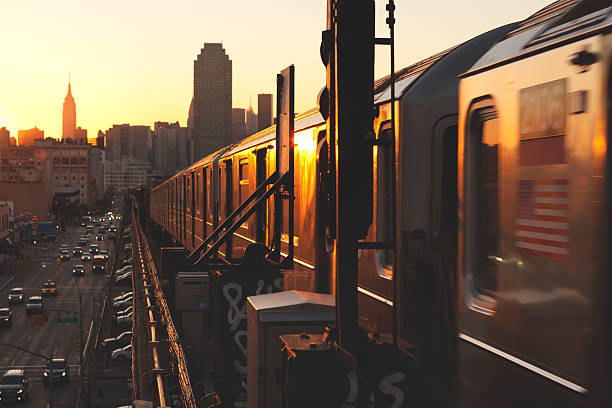 Sunset on the 7 Train Subway in Sunnyside Queens stock photo