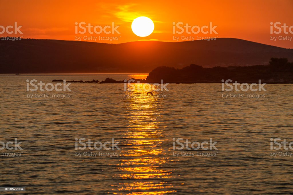 Sunset on the Adriatic sea at Vir island in Croatia. stock photo