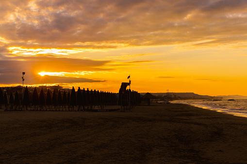 Sunset on the Adriatic sea in Pescara, Abruzzo, Italy