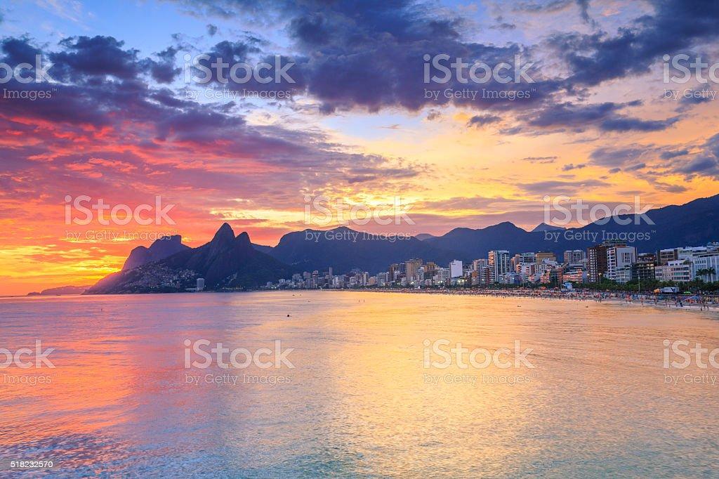 Sunset on the Arpoador in Rio de Janeiro stock photo