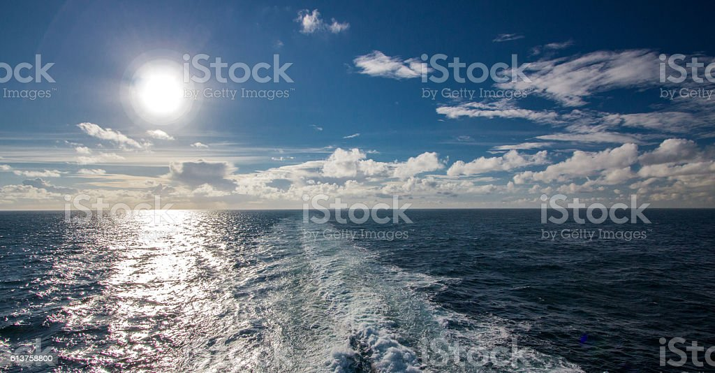 sunset on the Atlantic Ocean stock photo
