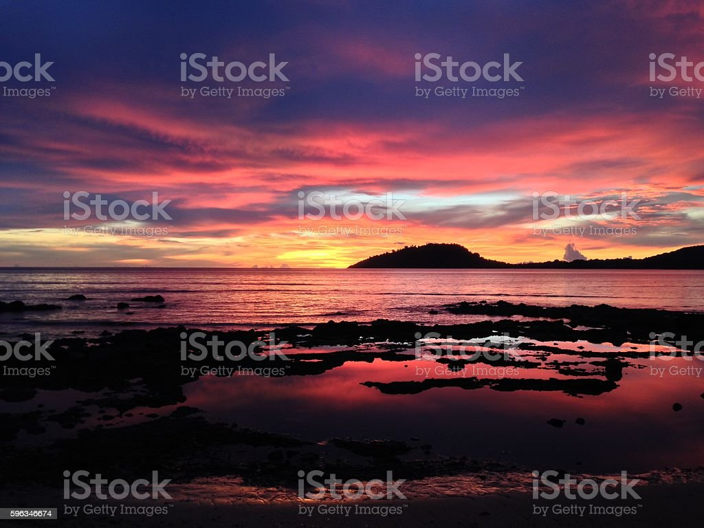 Sunset on the beach in Nosy Be Island royalty-free stock photo