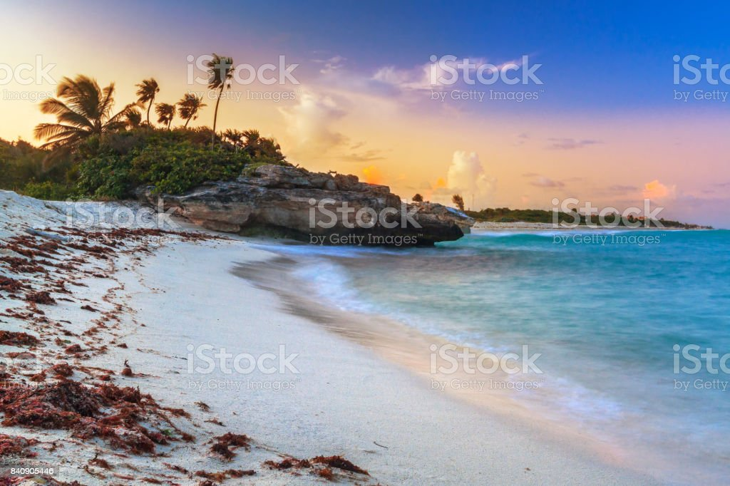 Sunset on the beach of Playa del Carmen at caribbean sea stock photo