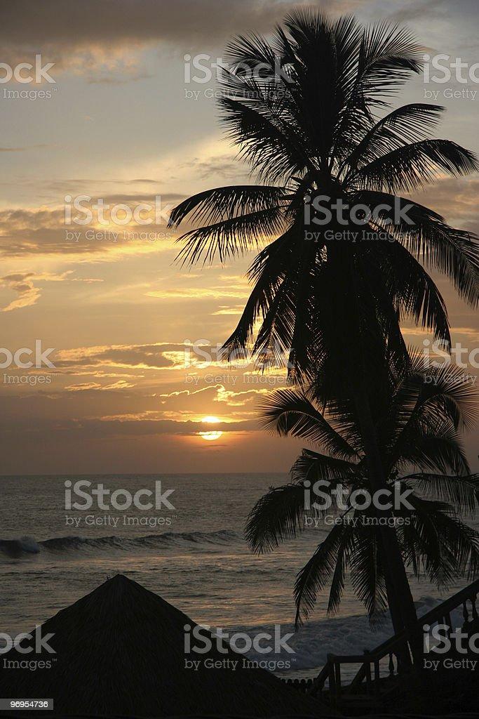 Sunset on the Beach Poneloya royalty-free stock photo