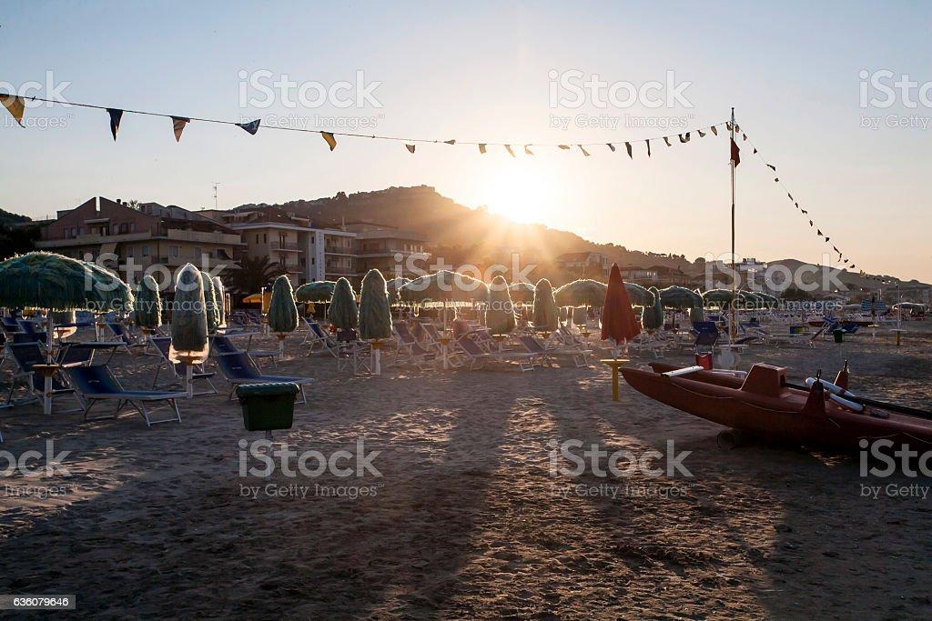 Sunset on the Beach, Silvi Marina, Italy stock photo