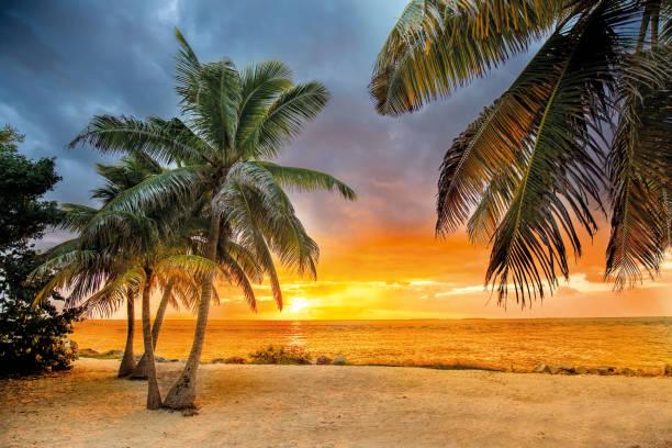Sonnenuntergang am Strand während ein Gewitters kommt – Foto