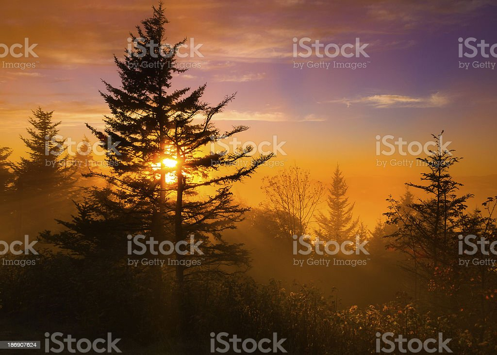 Sunset on the Blue Ridge Parkway stock photo