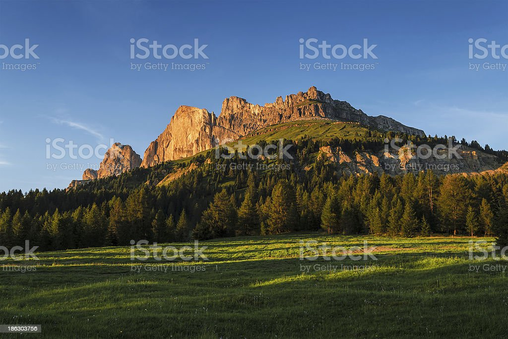 Sunset on the Catinaccio, Dolomites - Italy stock photo