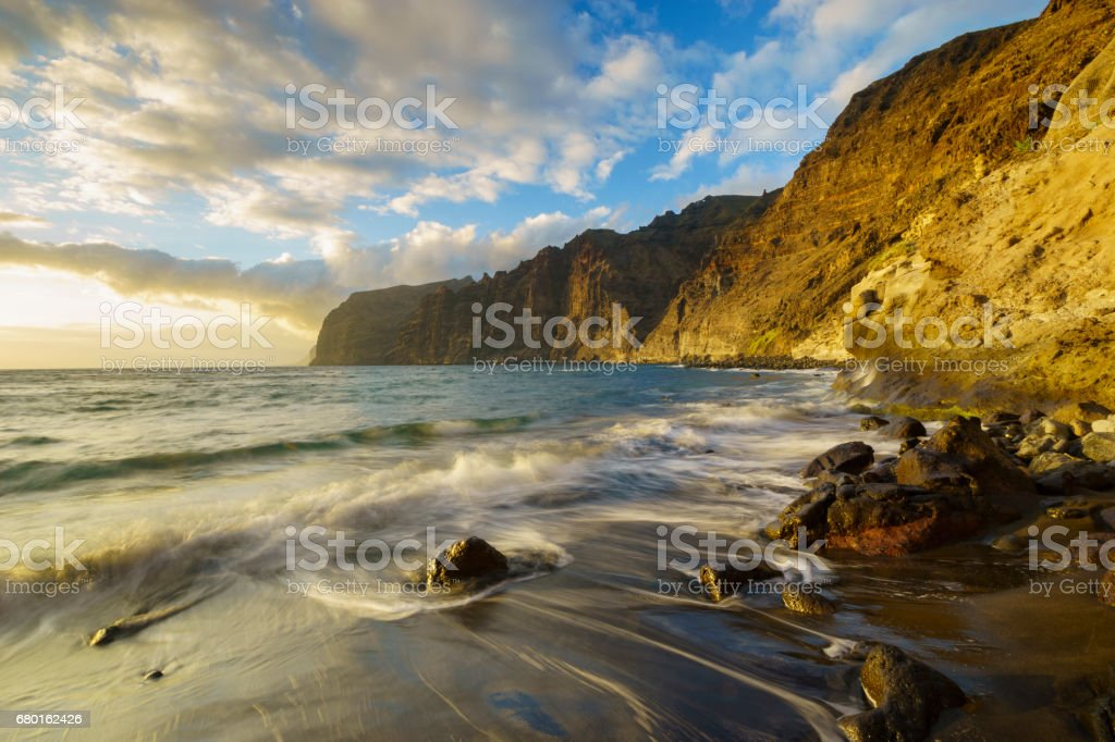 Sunset on the cliffs of Los Gigantes, Atlantic ocean, Tenerife stock photo
