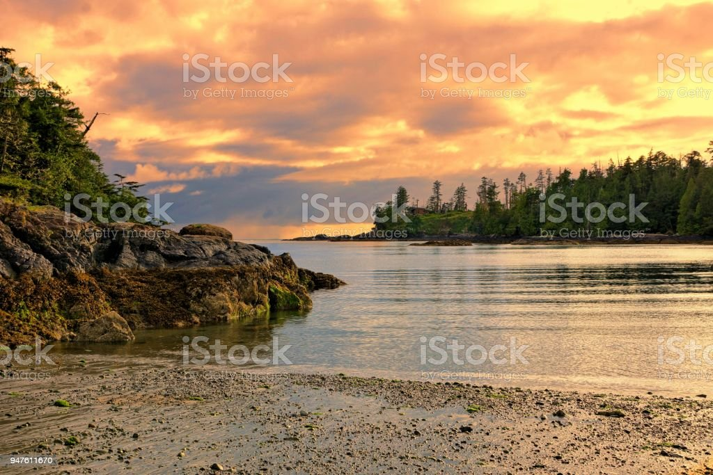 Sunset on the coast of Pacific Rim National Park, BC, Canada stock photo