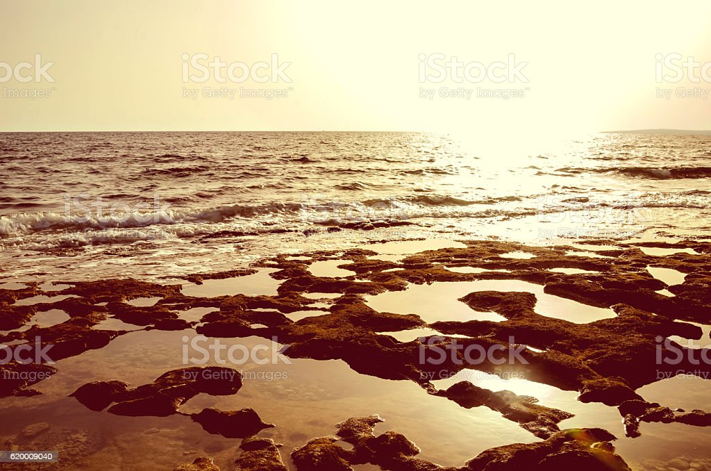 Sunset on the coral coast of the sea. Cyprus foto de stock royalty-free
