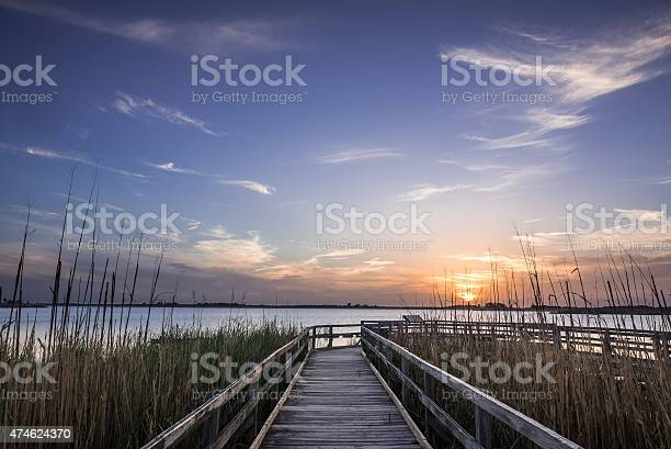 Back Bay Wildlife Preserve is one of Virginia's most beautiful and secluded beaches,this is sunset on the dock of the bayside May 10th 2015