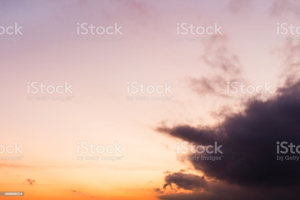 Sunset on the evening sky stock photo