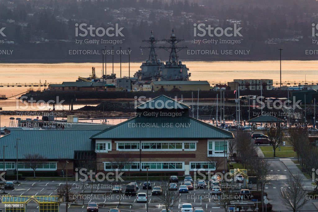 Sunset on the Everett Naval Station stock photo