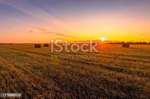 Sunset on the field with haystacks in Autumn season. Rural landscape with cloudy sky background in a sunny evening. Golden harvest of wheat or rye. Landscape.
