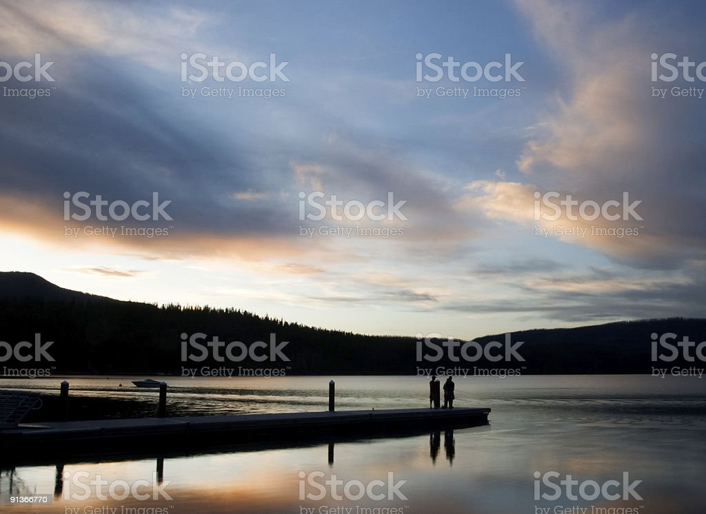 Sunset on the Fishing Dock royalty-free stock photo