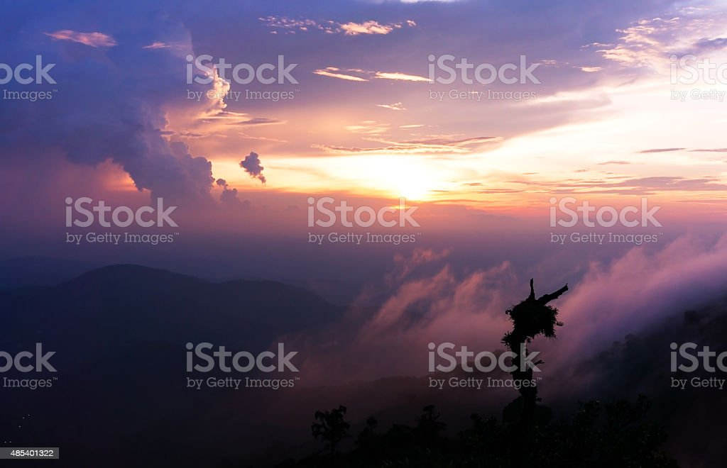 Sunset on the Genting Highland, Malaysia stock photo