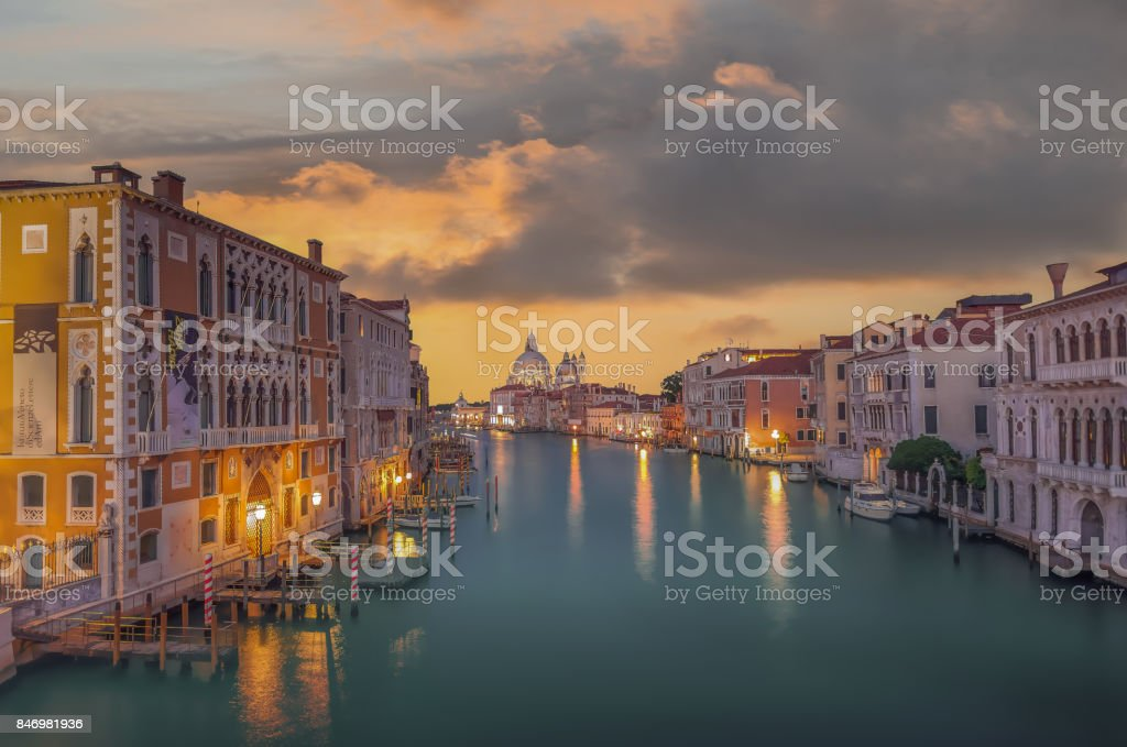 Sunset on the Grand Canal. stock photo