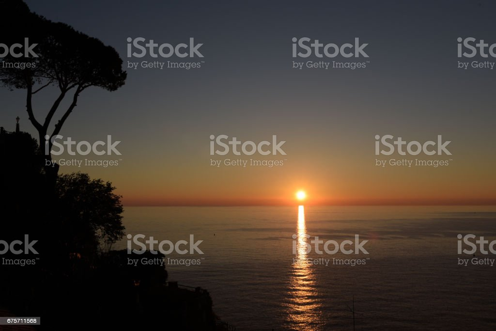 Sunset on the gulf of Camogli royalty-free stock photo