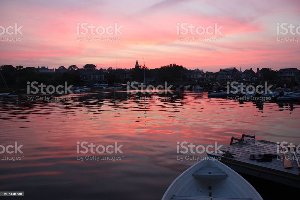 Sunset on the harbor stock photo