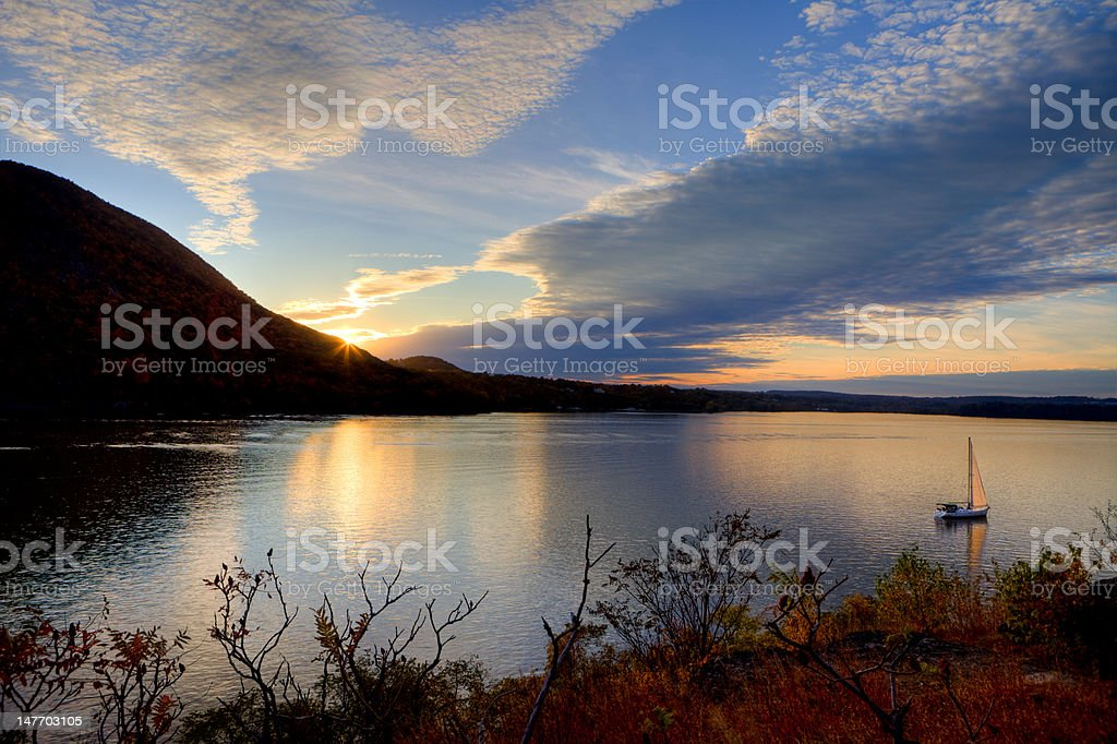 Sunset on the Hudson River stock photo