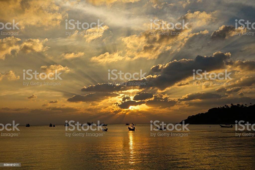 Sunset on the island stock photo