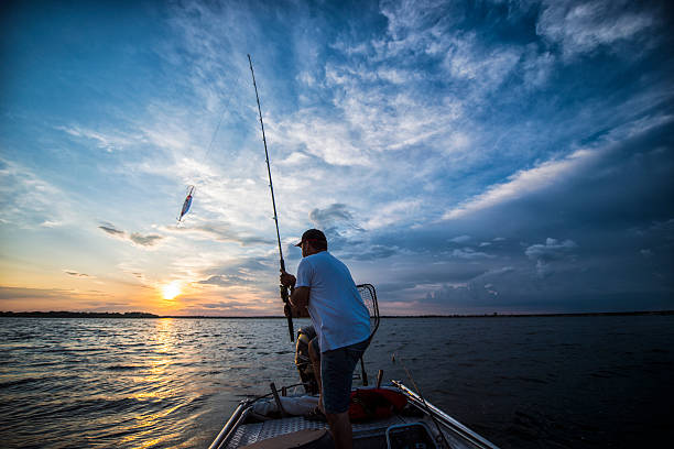 Sunset On The Lake fisherman on the boat bay of water stock pictures, royalty-free photos & images