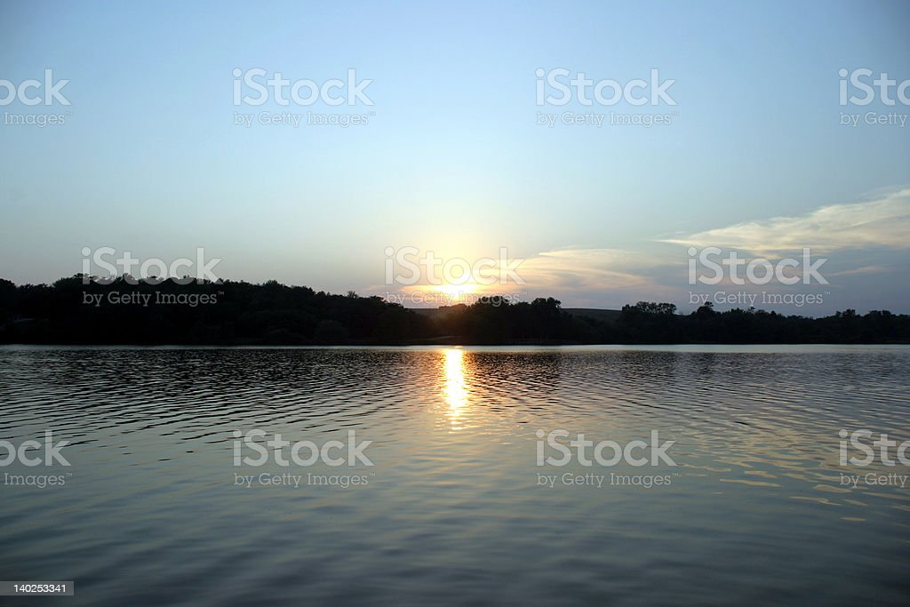 Sunset on the Lake - symmetry royalty-free stock photo