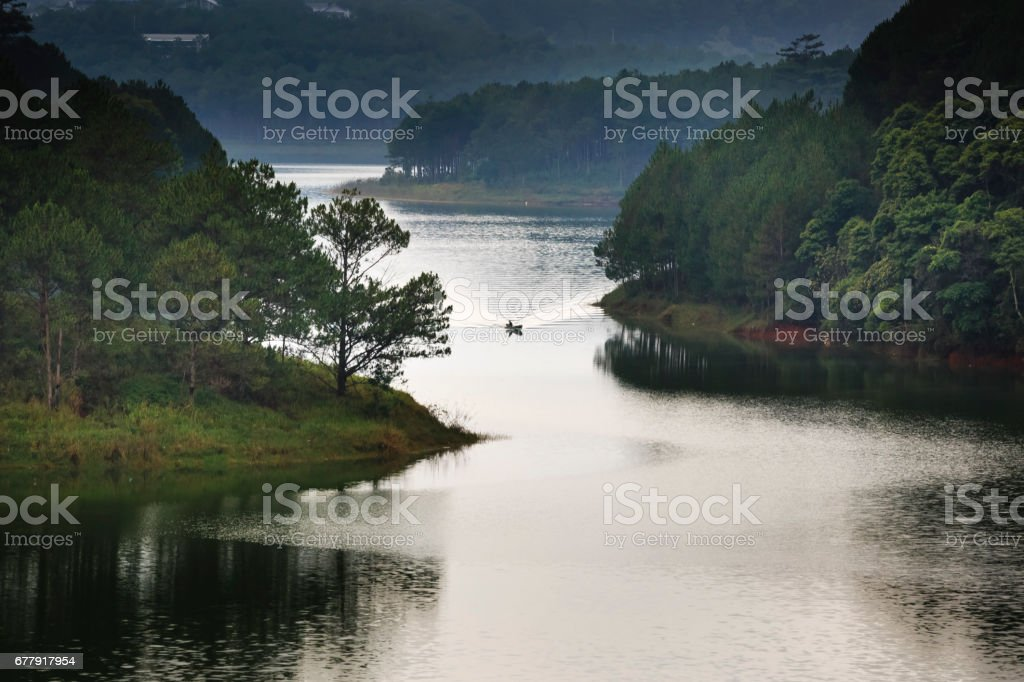 Sunset on the lake Tuyen Lam. Da Lat. Vietnam stock photo