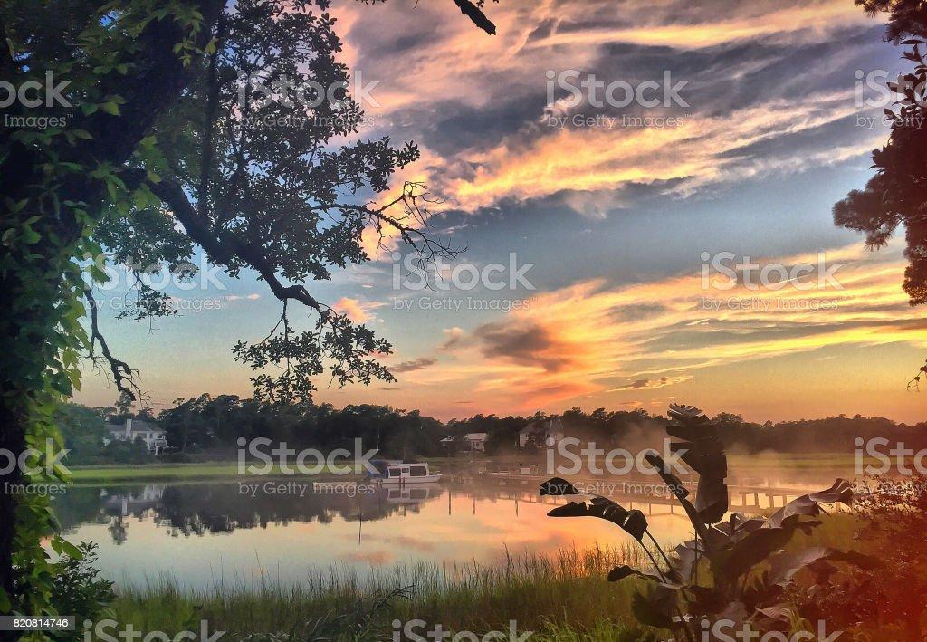 Sunset on the Marsh stock photo