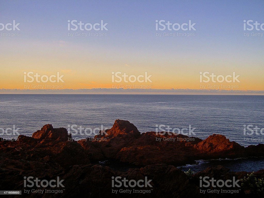 sunset on the Mediterranean sea royalty-free stock photo